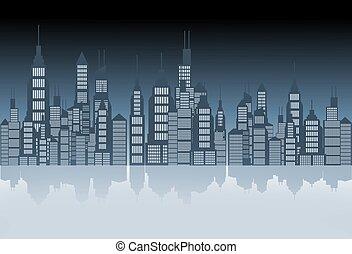 City Skyline Illustration - City Skyline Mirror Abstract...