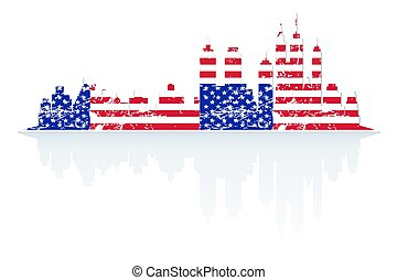 City skyline in colors of USA flag