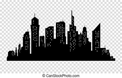 City skyline in grey colors. Buildings silhouette cityscape. Big streets. minimalistic style. Vector illustration