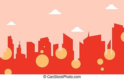 City skyline landscape of silhouette