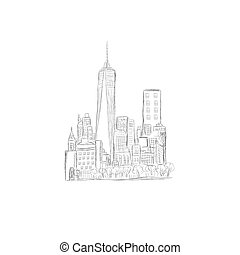 city skyline, New York, sketch