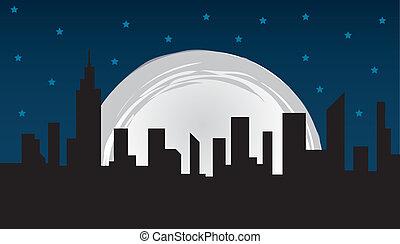 City Skyline - Nighttime city skyline and large moon