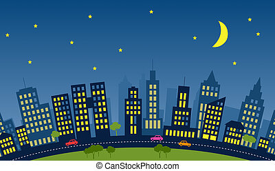 City. - Skyline of a city with skycrapers during night.