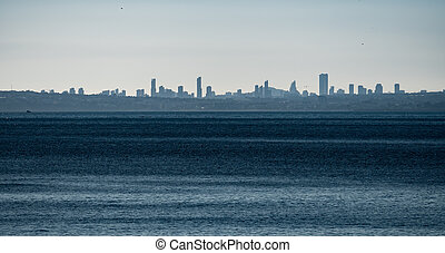 City skyline of Benidorm in Alicante with clear sky