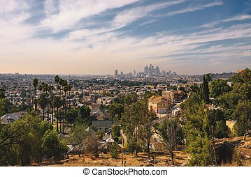 City skyline of Los Angeles in California
