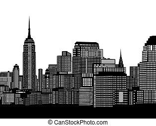 City skyline on white background, vector illustration