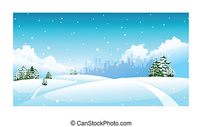 City skyline over snow landscape