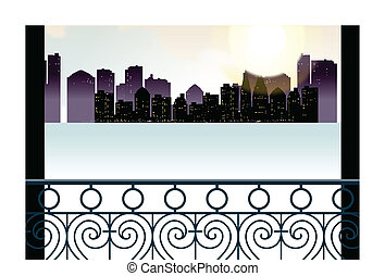 City skyline overlooks from balcony - This illustration is a...