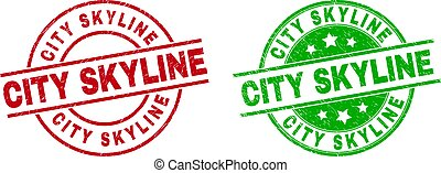 CITY SKYLINE Round Stamp Seals Using Corroded Texture