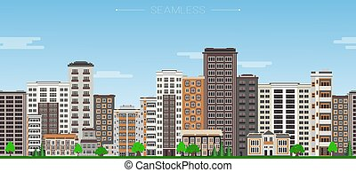 City skyline seamless border pattern with high-rise houses...