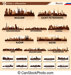 City skyline set. Russia. Vector silhouette background illustration.