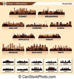 City skyline set. 10 city silhouettes of Australia