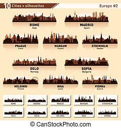 City skyline set. 10 city silhouettes of Europe #2