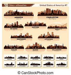 City skyline set. 10 city silhouettes of USA #7