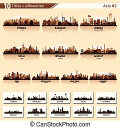 City skyline set 10 vector silhouettes of Asia #3