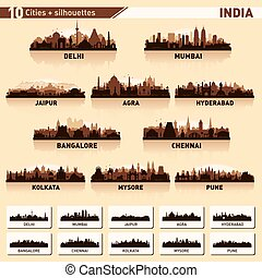 City skyline set. 10 vector silhouettes of India