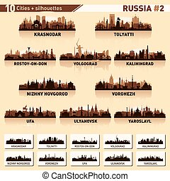 City skyline set. 10 vector silhouettes of Russia #2