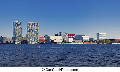 skyline of Almere, Netherlands. Almere is the youngest and fastest growing city in the country, founded around 1975