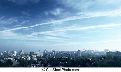 City skyline. Timelapse.