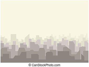 City skyline urban landscape. Cityscape silhouette in flat style