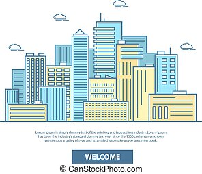 City skyline vector illustration in flat linear style
