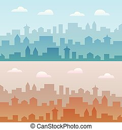 City skyline vector illustration. Two urban landscapes. Daytime cityscape in flat style.