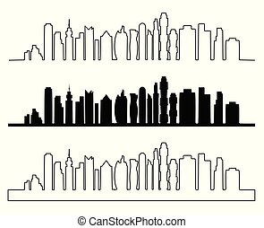 City skyline vector illustration. Urban landscape.