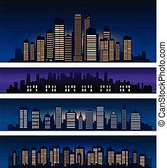 City skyline vector silhouette at night