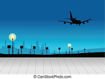 City skyline with airplane