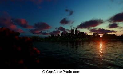 City skyline with beautiful lake reflections, timelapse sunrise