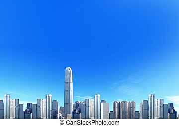 City skyline with blue sky background, great for your design