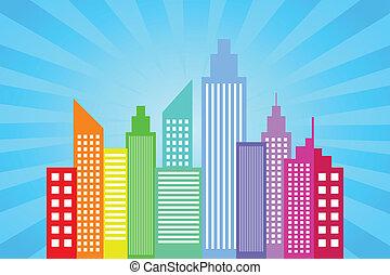City Skyline With Blue Sun Rays Background Vector...