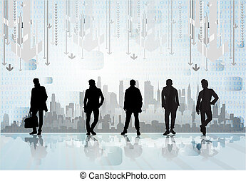 City skyline with business people