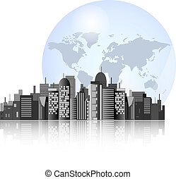 City skyline with earth background