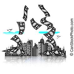 City skyline with money bills. Modern economy