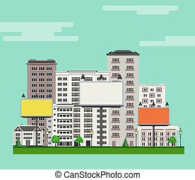 City skyline with multistorey apartment and office buildings, green trees and lawn, billboards.
