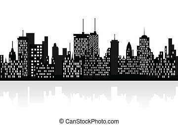 City skyline with skyscrapers - Big city skyline with tall...