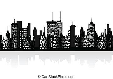 City skyline with skyscrapers - Big city skyline with tall...