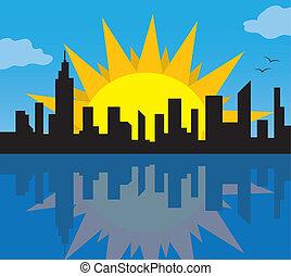 City Skyline with Sun