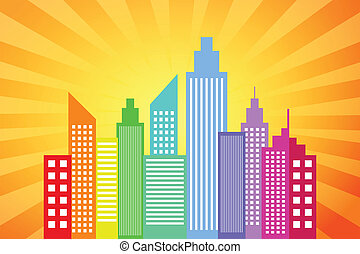 City Skyline With Sunset Rays Background Vector Illustration