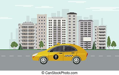 City skyline with yellow taxi car on road on cityscape background with skyscrapers.