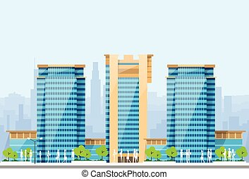 City Skylines Blue Illustration Architecture Modern Building Cityscape