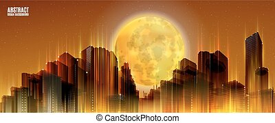 City Skylines with full moon. Orange night background. Panorama width.