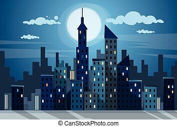 City Skyscraper Night View Cityscape Snow Skyline Flat...