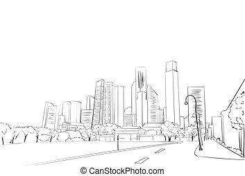 City Skyscraper Sketch View Cityscape Skyline