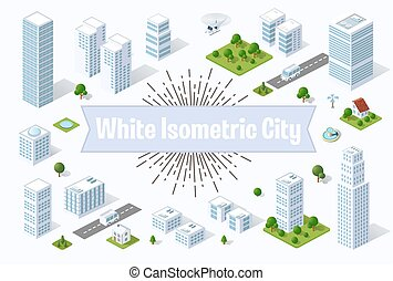 City skyscraper - A large white city of isometric urban...