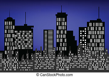 City skyscrapers and buildings at night