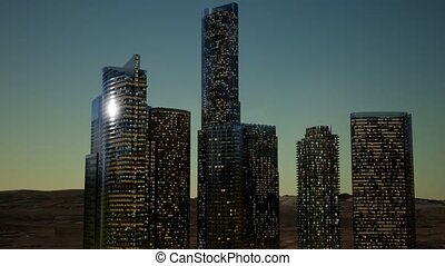 cty skyscrapers at night with dark sky in desert