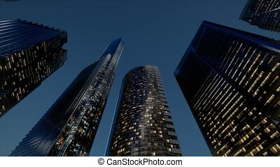 city skyscrapers at night with dark sky
