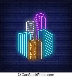 City skyscrapers neon sign